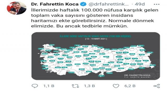 Denizlide vaka sayısı 100 binde 49.38 oldu