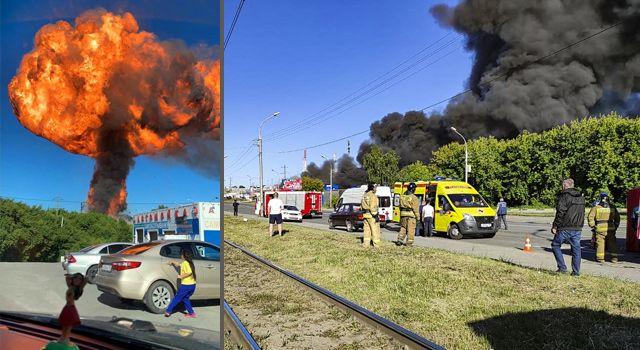 Rusyada akaryakıt istasyonunda şiddetli patlama