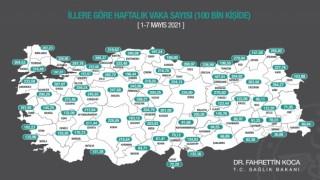 Sağlık Bakanı Fahrettin Koca haftalık insidans haritasını paylaştı. İllere göre haftalık 100 bin kişide Covid-19 vaka sayısı; İstanbulda 359,99, Ankarada 247,68, İzmirde 161,92 oldu.
