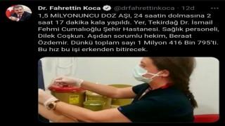 Bakan Koca, 24 saat dolmadan aşıda rekor sayıyı duyurdu