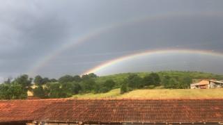 Çanakkalede çifte gökkuşağı manzarası