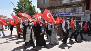 Şırnakta terör mağduru aileler HDP İl Başkanlığı binası önünde eylem yaptı