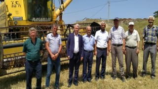 Tunçbilek beldesinde çiftçiler mahsulünü hasat ediyor