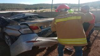 Mardinde takla atan otomobil alev aldı: 1 yaralı