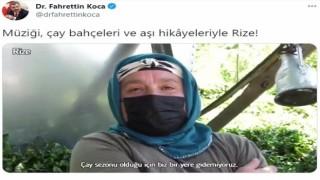 Sağlık Bakanı Koca, Rizede çay bahçesinde aşılama işlemini paylaştı