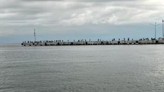Sinopta oltasını alan iskeleye koşuyor