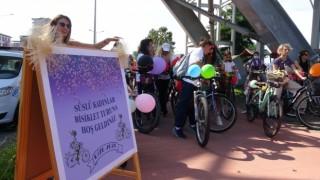 Süslü kadınlar topluluğu Rizede pedal çevirdi